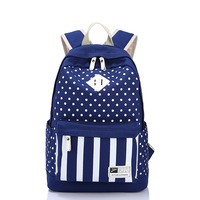 New Hot  brand canvas backpack women's stripes & dots fashion casual bag kids school bag woman outdoor&sports backpacks  8876