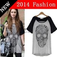 2014 Women New Fashion Summer Tops for Woman 4xl  Plus Size Clothing harajuku Printed Skull Punk T Shirt Casual T-shirt 89Y