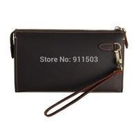 High-end men's genuine leather handbag Vintage Leather Purse 100% real Brand Crazy horse leather wallet  Luxury design