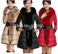 2014 novelty brand winter jacket rex rabbit luxury large fur collar slim elegant belt female long duck down coat Parka Outwear