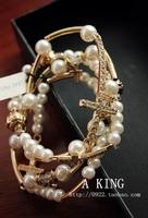 Fashion Sweet Pearl Diamond Cross Stretch Elastic Bracelet Jewelry Accessories