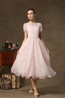 fashion elegant women 2014 summer ladies evening dress plus size vestidos dresses lace pink retro Fairy two-piece frozen fairy