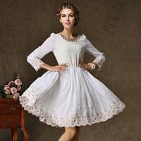 fashion 2014 summer Autumn exquisite embroidery waist hem elegant white dress pearl accessories wedding dress evening dresses