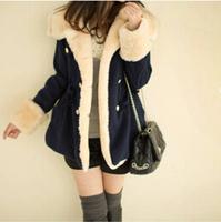 Red Blue Khaki Free Shipping 2014 winter warm coats women wool slim double breasted lady jacket women fur women's coat jackets73