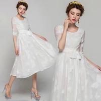 white Princess 2014 summer new butterfly silkworm Silksand sleeve plus side waistband dress elegant party porm evening dresses