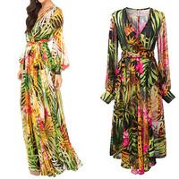 New 2014 Spring Summer New European Womens Fashion Long Lantern Sleeve Vintage Leaves Print Dress Chiffon Maxi V-Neck Dresses