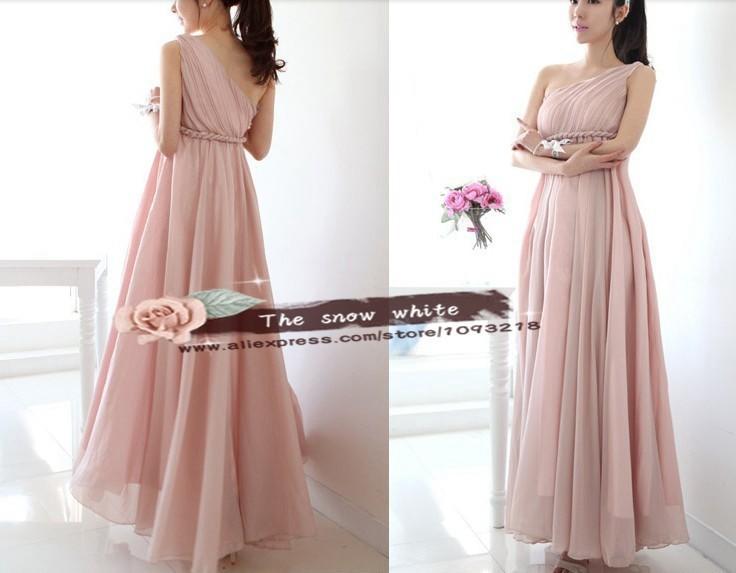 2014 bridesmaid dress one shoulder maxi design formal for Greek goddess wedding dresses