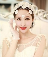Factory Price 100% Handmade Lace Crystal Bridal Headband Frontlet Wedding Hair Accessories Wedding Accessories TS071