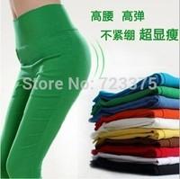 2014 South Korea brand autumn/winter Ladies' leggings women Tall waist pencil pants female Candy color ninth pants Free shipping