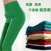 2014 South Korea brand autumn/winter Ladies' leggings women Tall waist pencil pants female Candy color ninth pants Free shipping