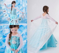 2014 Frozen Dress Elsa Snow Queen Dress Girl's Formal Dress Shiny Sequined Cloak Children Costume Girls Party Dress