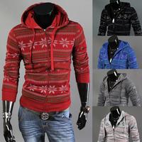 2014 Autumn Winter Men's Snow Shape Printing Hooded Fleece Male Individualized Zipper Up Jackets Coat Plus Size M-2XL 5 Colors