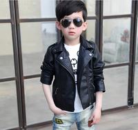 Free Shipping Children 2014 new autumn coat Korean boy leather jacket lapel jacket in children
