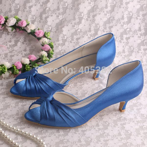 (13 Colors)Custom Handmade Blue Fabric Women Low Heels Autumn Wedding  Bridal Shoes Free Shipping