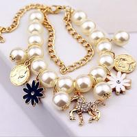 Multi-layer pearl bracelet bangles flower horse/digital 5 charms bracelets gifts jewelry wholesale