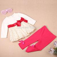retail 2014 baby clothing sets baby girls clothes autumn children set baby girls dress+ pants kids clothes sets roupas de bebe