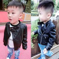 Free Shipping The boy Korean jacket Korean children with autumn 2014 new boy baby leather coat