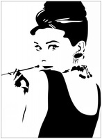 removable art wall stickers home decoration Audrey Hepburn with a pipe picture wallpaper enfeites para a casa