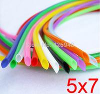 5mm ID 7mm OD 5X7 colours Silicone Rubber Tube Hose ( food grade ) flexible white blue black red yellow purple orange green