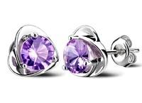 925-E068 Free Shipping Sterling Silver Jewelry Purple Crystal Heart Rhinestone Stud Silver Earrings for Women Accessories