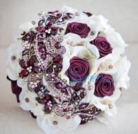 2014 New Arrivel,Elegant Customized Luxury Artifical Pearl Beaded Brooch Silks Crystal Bridal Wedding Bouquet Deep Purple