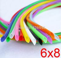 6mm ID 8mm OD 6X8 colours Silicone Rubber Tube Hose ( food grade ) flexible white blue black red yellow purple orange green