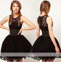 2014 New fashion women casual party lace dress British court style wide belt decorated black lace tutu vest summer party dress