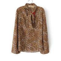 3XL 4XL Casual Women Leopard Blouse Novelty Lady Shirt Tunic Top Bow Tie Plus Big Large Size XXXL XXXXL 2014 New Fashion Summer