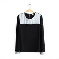 2014 new  Fashion O-Neck Long sleeve White and Black Patchwork chiffon shirt Free shipping   J84