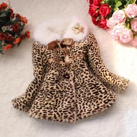 Children baby outerwear Girls Leopard faux fox fur collar coat clothing with bow Autumn Winter wear Clothes  dress jacket