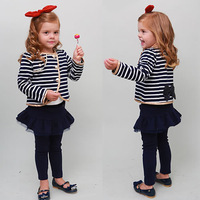 New Autumn Girls Striped Bow Suits Clothing Children Long Sleeve Casual Outwear Tops+TUTU Skirts Leggings 2PC Sets