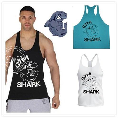 Tubarão vestir muscular das regatas homens clássicos Gym regatas para Fitness e Bodybuilding 100% algodão solto Suit formação(China (Mainland))