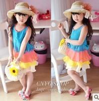 Free Shipping Wholesale (5 Size/Lot) New 2014 Childrens Kids Girls Summer Fashion  Wood Ear Chiffon Princess Dress