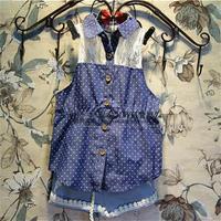 Free Shipping Wholesale (5 Size/Lot) New 2014 Childrens Kids Girls Summer Fashion  (Shirt + Shorts) Blue Suit