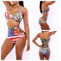 2014 Sexy Bodycon BIKINI SET STARS STRIPES USA TWIST BANDEAU BIKINI AMERICAN FLAG SWIMWEAR SWIMSUIT BEACHWEAR XL FREE SHIPPING