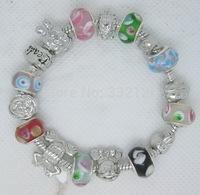 PH092 hot sale, Free Shipping wholesale pan silver bead Charm bracelet bangle for women European Style Handmade Silver jewelery