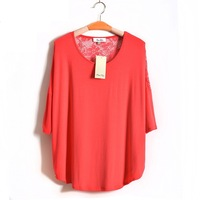 S-XL Casual Women Red Lace T-Shirt Tee Top Batwing Sleeve Novelty Ladies Blouse Shirt 2014 New Fashion Autumn Fall