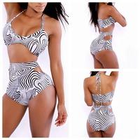 2014 Summer Vintage New Sexy Biquini Push Up Brazilian Solid Womens Bikinis Set Swimwear Swimsuit Bandeau Zebra Bandage Dress