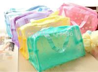 new floral transparent waterproof plastic makeup bag Bath products receive 10pcs mix colors