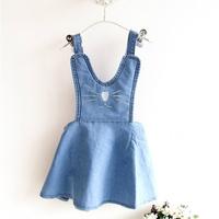 Free Shipping Wholesale (5 Size/Lot) New 2014 Childrens Kids Girls Summer Fashion  Cute Cat Denim Strap Dress