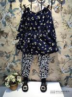 Free Shipping Wholesale (5 Size/Lot) New 2014 Childrens Kids Girls Autumn Fashion  (Dress + Leggings) Small Daisy Suit
