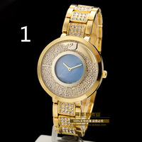 Free Shipping2014 New Arrivals Fashion Top Brand Swan Rhinestones Gold Women Watch Special Diamond Lady Bracelet Watches 5 Color