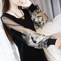 FREE SHIPPING 2014 princess knitted gauze embroidery lantern sleeve long-sleeve basic 2 one-piece dress