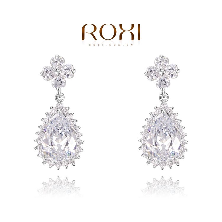 ZCZ big long cristal ROXI 2014 women earring jewelry sterling silver earrings ear rings big stud double pearl(China (Mainland))