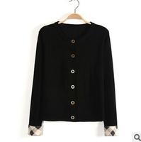 New 2014 Autumn European Black Knitwear Casual Slim Ladies Cardigan Female Sweater Coat Long Checks Sleeve Women Sweaters