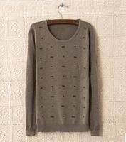 2014 New Design Autumn Winter Fashion Cute Bowknot Embroidery Women Sweater Round Collar Long Sleeve Women's Kniwear Outerwear