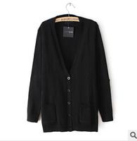 New2014 Autumn European Style Cute Star Patch Knitwear Pullover Ladies Sweater Coat  Long Sleeve Women Cardigan Sweaters Outwear