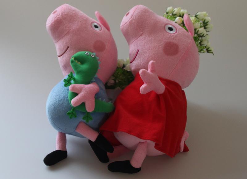 """alta qualityRetail 12 """" Peppa Pig & george rosa porco dos desenhos animados de pelúcia boneca de pelúcia 2 tamanho grande miúdos bonitos brinquedos da criança(China (Mainland))"""