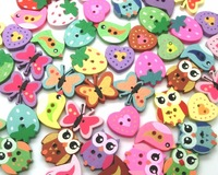 Free shipping -100pcs Mixed 2 Holes pattern cartoons Wood Sewing Buttons Scrapbooking  D2268