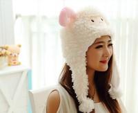 2014 New Soft Warm Lamb Animal Caps Three Color Meng Sheep / Goat Cartoon Animal Plush Toys Show Props Warm Hat 8pcs/lot
